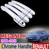 For Renault Megane III 2008 2015 Chrome Handle Cover Trim 3 MK3 2009 2010 2011 2012