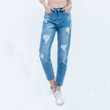 luckinyoyo jean woman mom jeans pants boyfriend jeans for women with high waist push up large size ladies ripped jeans for woman(China)