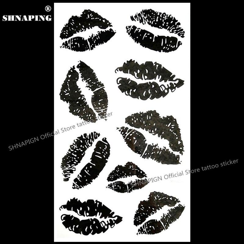 ᗚShnapign negro sexy labios tatuaje temporal Cuerpo arte brazo ...
