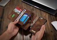 14 Slots Zipper Wallet With Removable Back Cover Leather Case For Apple IPhone 6 6S Hand
