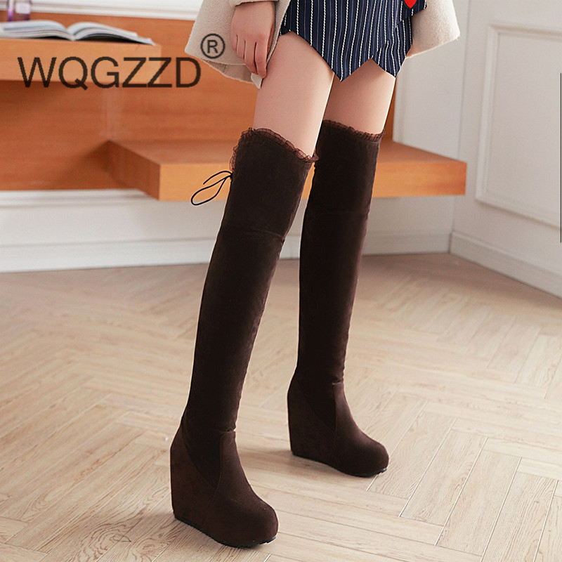 Online Get Cheap Suede Knee High Wedge Boots -Aliexpress.com ...