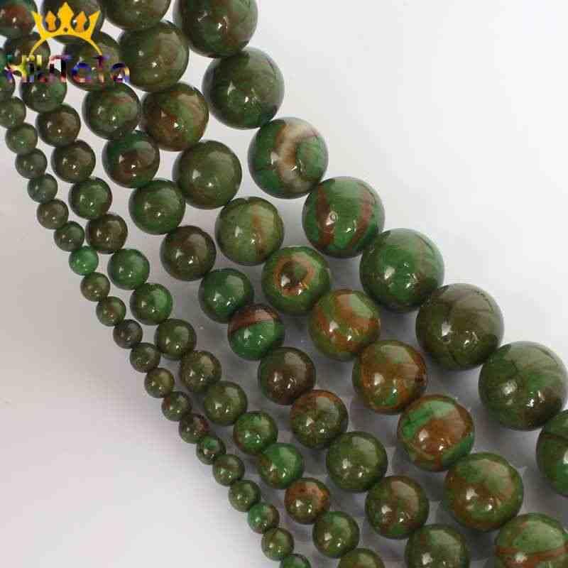 Naturalne Phoenix jade kamień koraliki zielony okrągły luźne koraliki modułowe 15 ''4/6/8/10/12mm do tworzenia biżuterii bransoletka Zrób To Sam naszyjnik