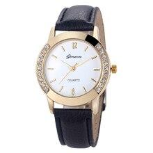 Womens Fashion Analog Diamond Leather Quartz Wrist Watch – black