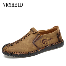 VRYHEID Summer Leather Casual Shoes Men Handmade Vintage Shoes Flats Lace-up Hot Sale Moccasins Chaussure Homme Big Size 38-48 цена в Москве и Питере