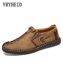 VRYHEID verano Zapatos casuales de cuero hombres hechos a mano Vintage zapatos planos con cordones gran oferta mocasines Chaussure Homme tamaño grande 38-48