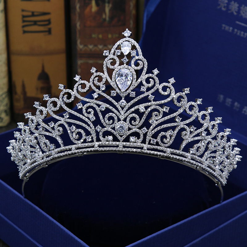 Luxury fashion exquisite Hair Jewelry CZ sparkling Wedding Tiaras And Crowns Quinceanera Pageant Queen Tiara For Bride H-012 03 red gold bride wedding hair tiaras ancient chinese empress hat bride hair piece