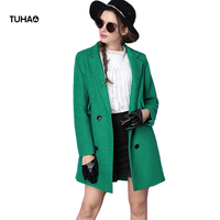 TUHAO Elegant Winter Coats Women Double Breasted England Style Slim Fit Blends Woolen Coat Female Casual