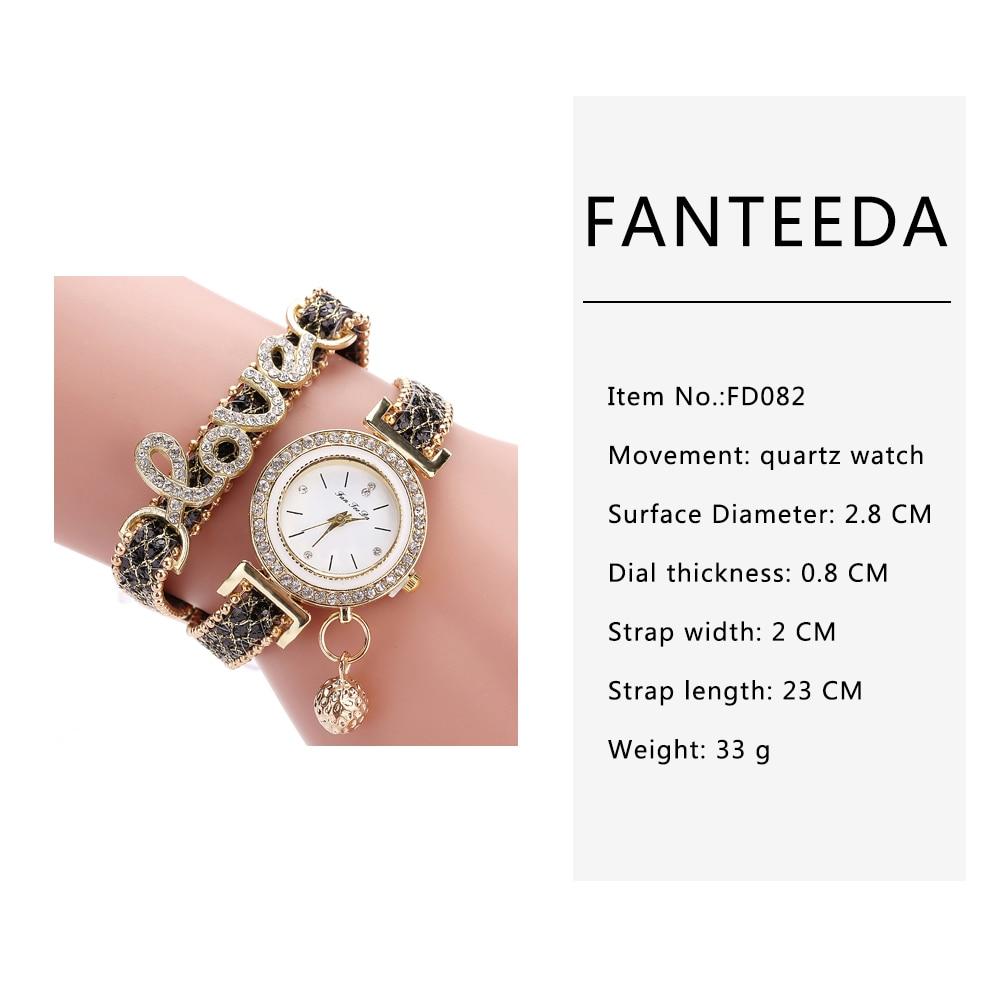 FanTeeDa Brand Fashion Luxury Women Wristwatch Watches Love Word Leather  Strap Ladies Bracelet Watch Casual Quartz Watch Clock-in Women s Watches  from ... 9a9c3c763542