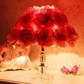 Настольная лампа спальня ночники ткани розы красный свадебный подарок идеи, свадебные цветы романтический сад лампы