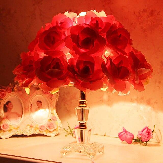 Tischlampe Schlafzimmer Nachttischlampen Stoff Rosen Rote Hochzeitsgeschenk  Ideen, Hochzeit Blumen Romantische Gartenlampe