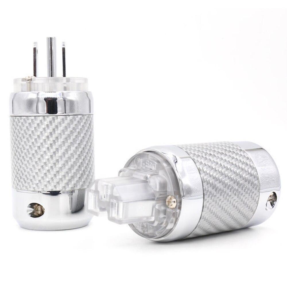 цена на HIFI Unprinted Copper Rhodium Carbon fiber US power plug IEC connector for DIY US AC power cord