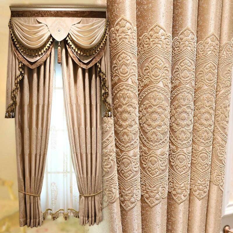 Custom curtain simple modern luxury European style curtains High-grade jacquard Thicker Chenille cloth blackout curtain E770Custom curtain simple modern luxury European style curtains High-grade jacquard Thicker Chenille cloth blackout curtain E770