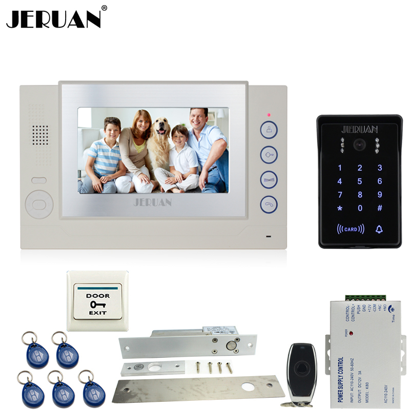 JERUAN 7`` Color LCD video doorphone Record intercom system Kit New RFID waterproof Touch Key password keypad Camera 8G SD Card jeruan 7 lcd video door phone record intercom system 3 monitor new rfid waterproof touch key password keypad camera 8g sd card