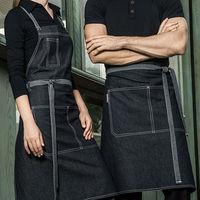 Half Full Length Gray Denim Apron Barista Florist Bartender Chef Work Wear Baker Waiter Waitress Cafe Diner Hotel Uniform B52