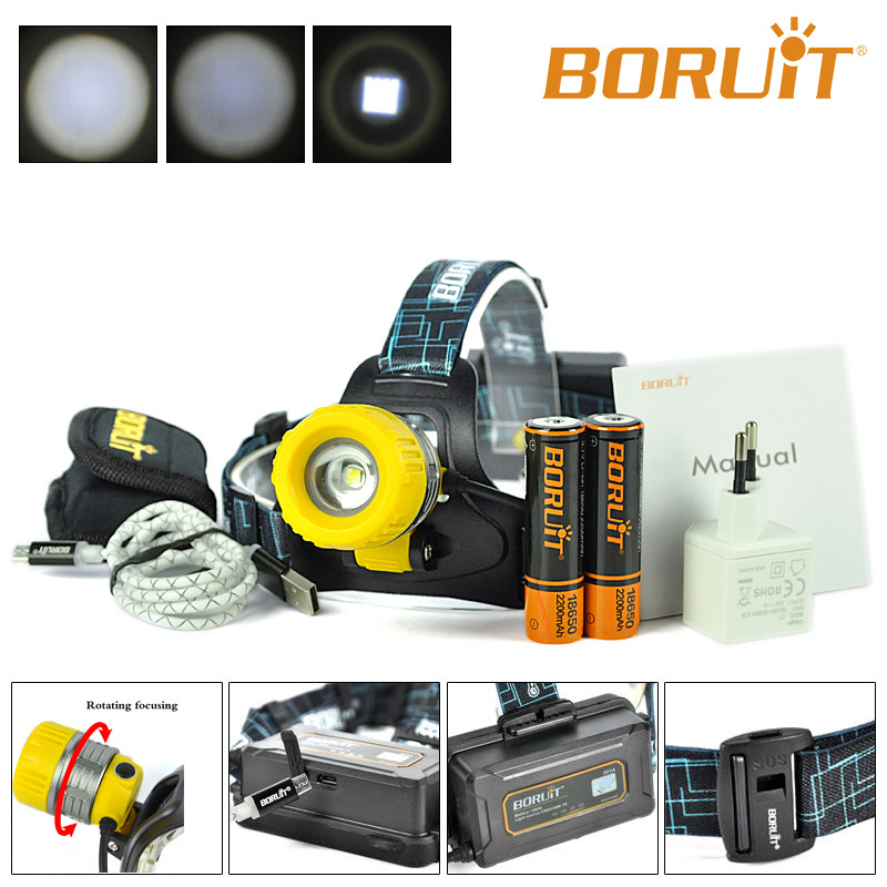 Boruit Upgraded B11 XM L T6 LED Headlamp Rechargeable Zoomable Head Light Headlight Torch 18650 PCB Batteries Micro USB yellow