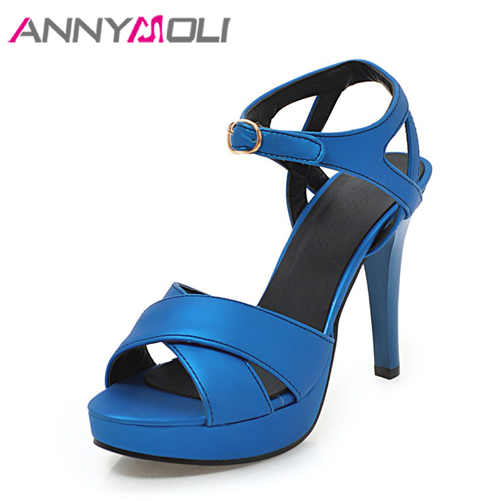 ANNYMOLI Women Sandals High Heels Platform Shoes Peep Toe Ladies Party Shoes Stiletto Blue Summer 2018 Fashion Large Size 33-46 annymoli women pumps high heels platform open toe bow women party shoes peep toe high heels luxury women shoes size 43 33 spring