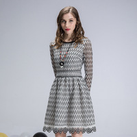 Women Midi Lace Dress Long Sleeve Slim A Line Casual Dresses Black White Summer Spring 2018