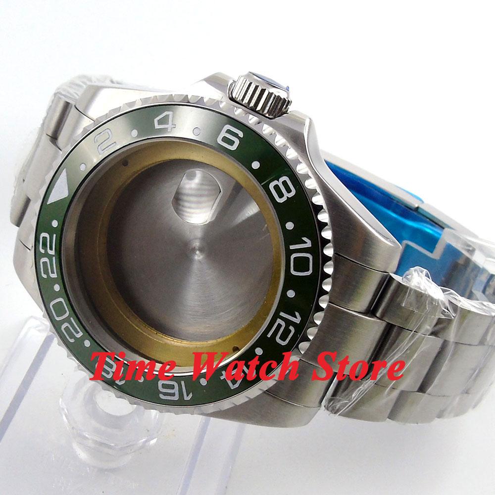 43mm Sapphire glass green ceramic bezel Watch Case with bracelet fit ETA 2824 2836 movement 55 цена и фото