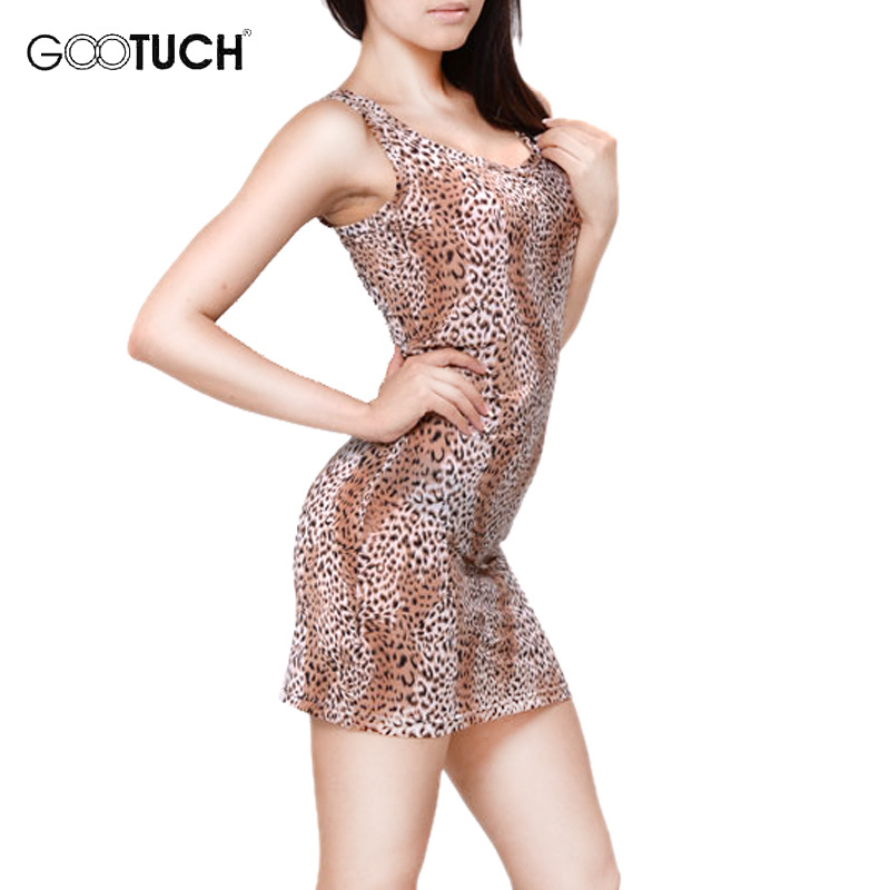 Summer Women's Sexy   Nightgown   Leopard Print Lounge Nightdress Sleepwear Sleeveless Casual Nightwear Leopard   Sleepshirts   7244