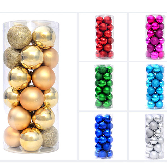 large plastic christmas balls 24 pcslot for christmas tree decoration ornaments 8 cm 6 - Large Plastic Christmas Decorations