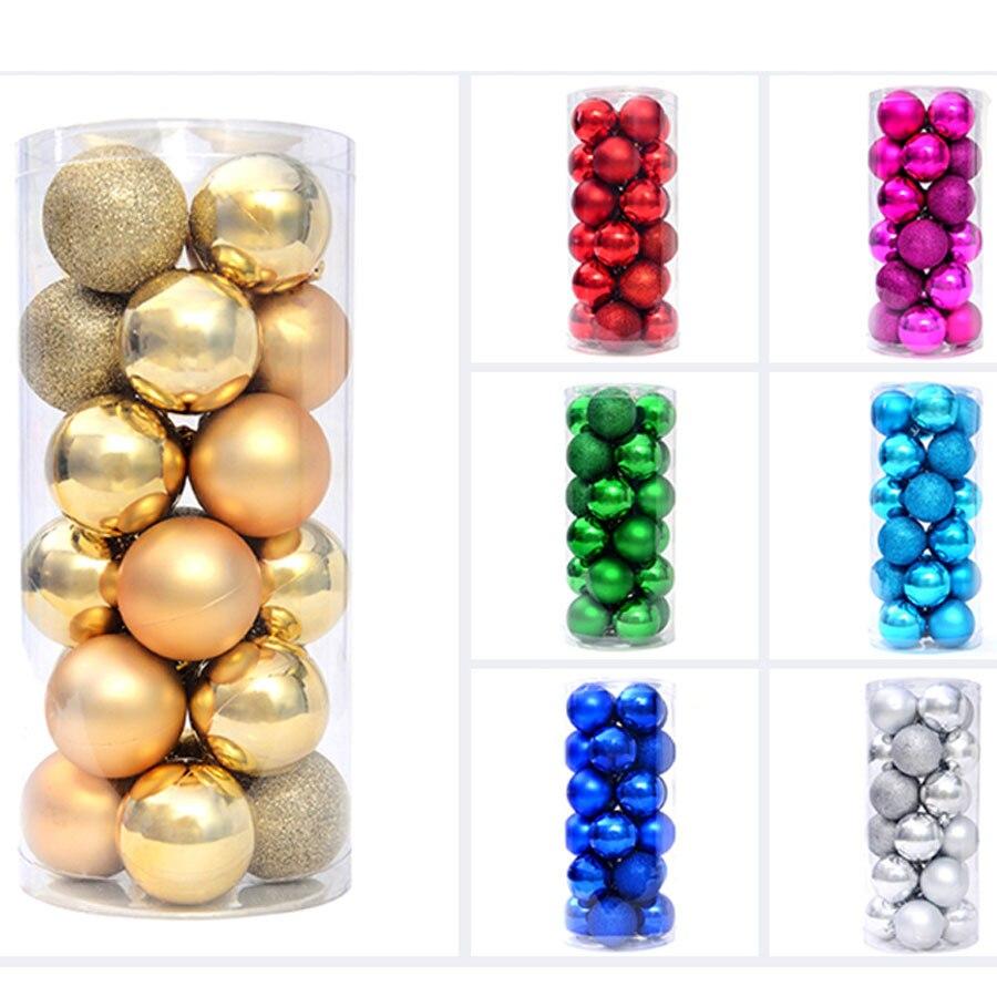 Large Plastic Christmas Balls 24 Pcs Lot For Christmas Tree Decoration Ornaments 8 Cm 6