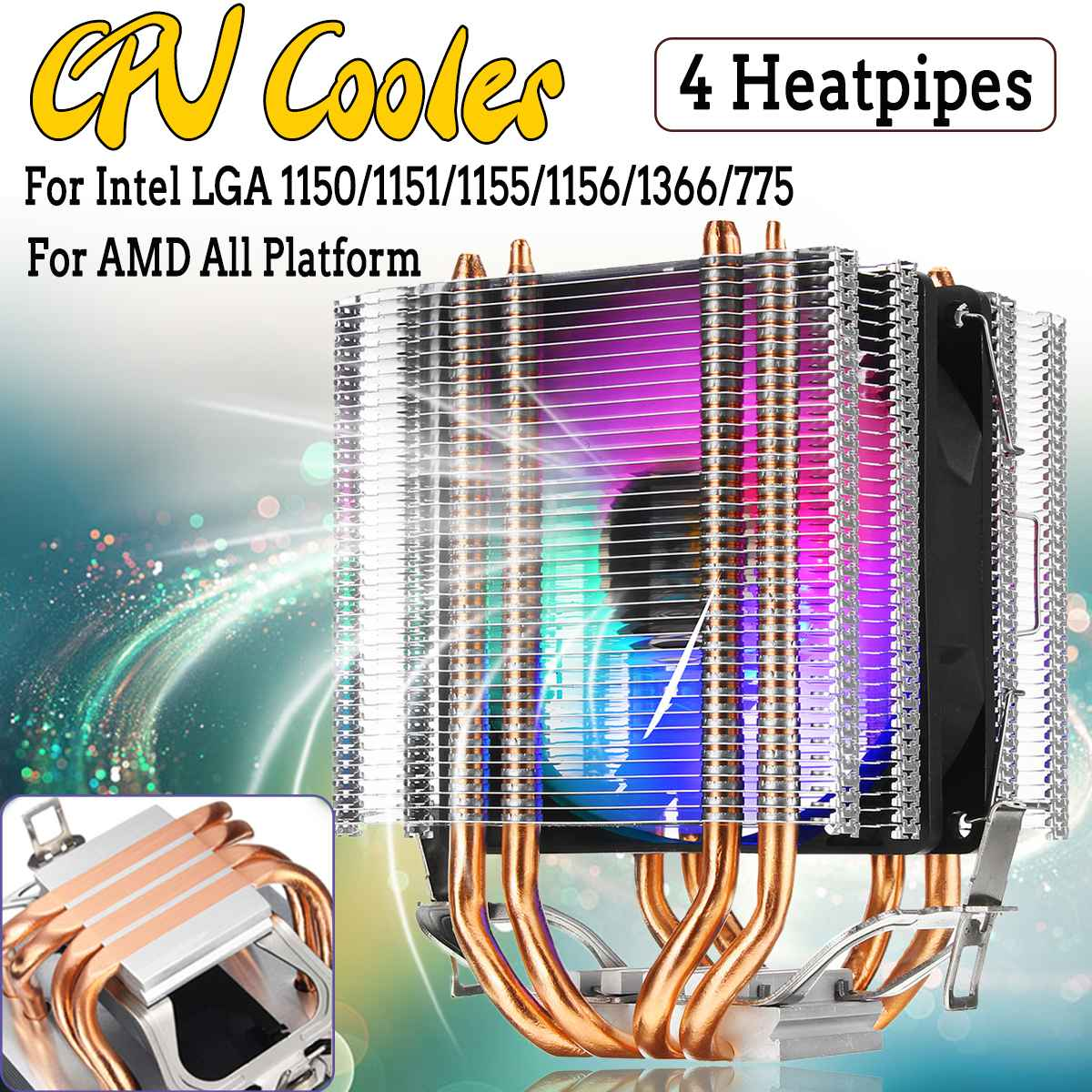 Dual Tower RGB CPU Cooler 4 Copper Heatpipe Heat Sink 4 Pin Quiet Cooling Fan For Intel LAG 1155 1156 775 For AMD Socket AM3/AM2