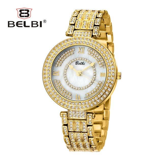 BELBI Ladies Gemstone Watches Luxury Diamond Case with Fashion Analog Display for Women Wrist Watch China Quartz Female Watch