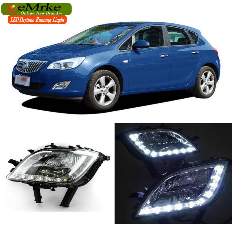 eeMrke Car LED DRL For Buick Excelle Opel Astra J 2009-2013 Yellow Turn Signal Xenon White Fog Cover Daytime Running Lights Kits for opel astra g box f70 1999 2005 former car styling led daytime running lights modified yellow glass