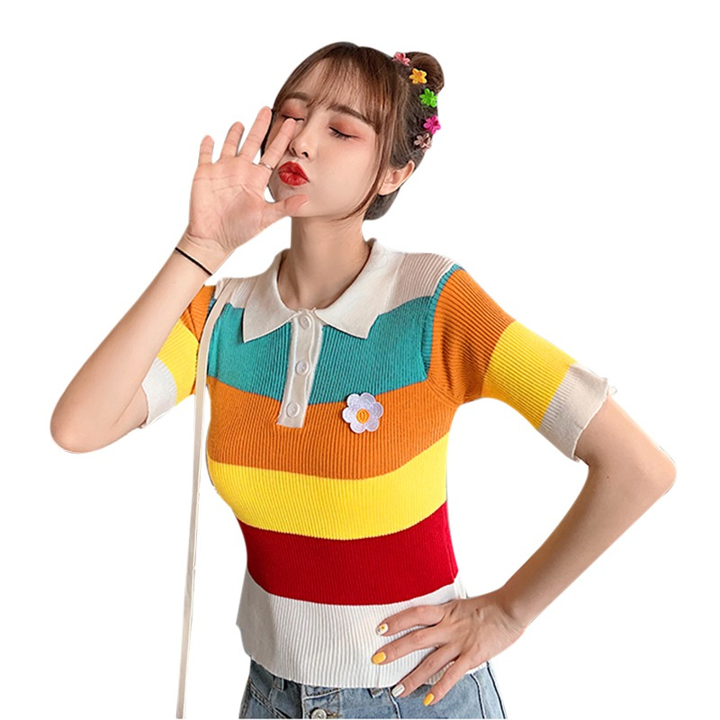 Women's Fresh Style Turn-down Collar Contrast Color Striped Short Sleeve Cute Knitted Polo Shirt