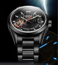 Heißer tritium leucht männer sports military skeleton armbanduhren automatische wind mechanische uhren stahlband relogio masculino