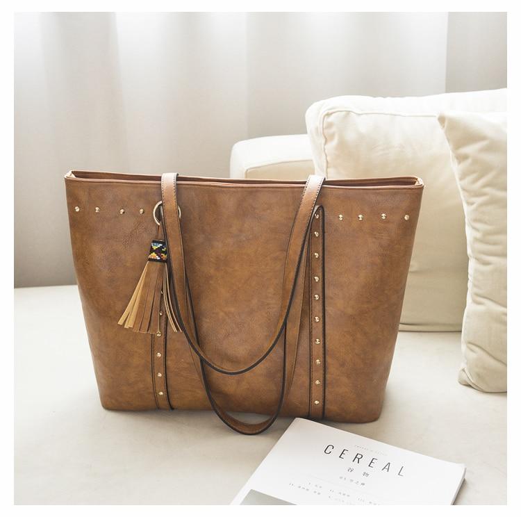 Rivet Leather Women Tote Handbag 26