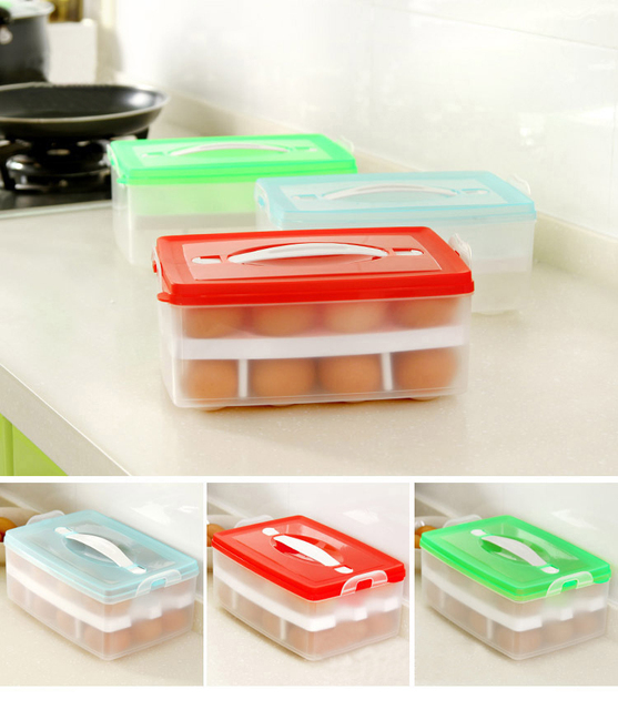 Two Layer Plastic Food Chicken Egg Holder Storage Bin Box Hamper