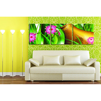 Red Flower With Green Leaves In Golden Vase Abstract Flower Painting Wall Art Printing High Definition