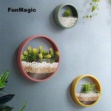 3 ชิ้น/ล็อต Creative Wall แจกันโลหะสีทึบแขวนแจกันบอนไซสำหรับงานฝีมือตกแต่งบ้าน/ประดิษฐ์ดอกไม้ผู้ถือชาวไร่