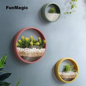 Image 1 - Jarrón de pared creativo de Metal, jarrón colgante de Color sólido para decoración del hogar, manualidades, soporte de flores artificiales, 3 unidades por lote
