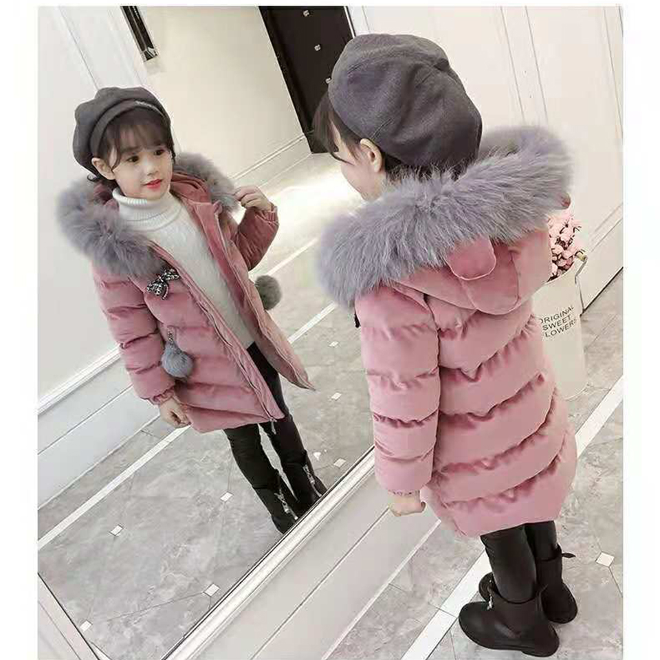 купить 2018 Winter Jacket Kids Snowsuit Baby Girl Hooded Parka Coat High Quality Jackets For Girls Clothes 3T -13Yrs Children Clothing по цене 2122.2 рублей