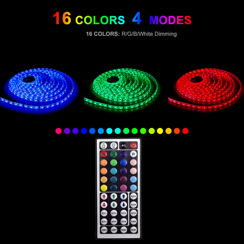 LED Strip 220V 20 Color RGB 5m 10m 15m 20 5050 Flexible LEDs Lighting Tape Diode Ribbon DC 12V Power Adapter Set