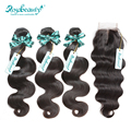Grade 6A 3PCS Brazilian Virgin Hair With Lace Closure Body Wave Total 4Pcs/Lot For A Full Head With Reinforced EdgeShipping Free