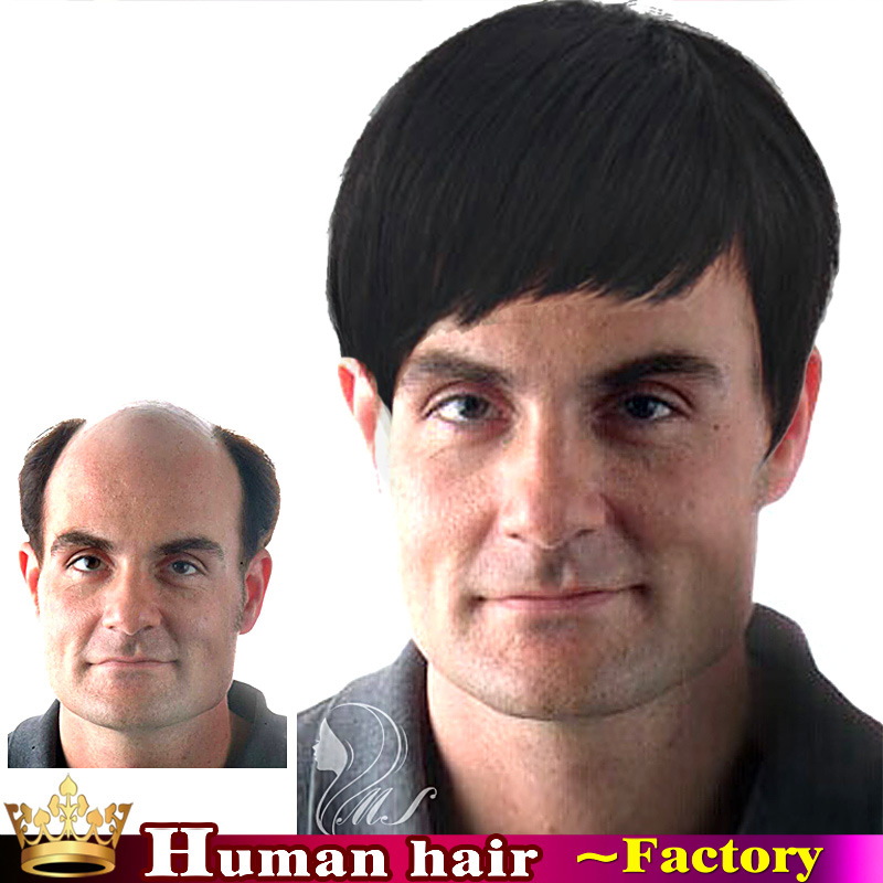 High Quality mens wigs Short Straight Silky None Lace Wigs Hair Replacement Men s  Wigs 100% Human Real Hair Lace Wigs for men-in Men s Costumes from Novelty  ... f6fad40e0