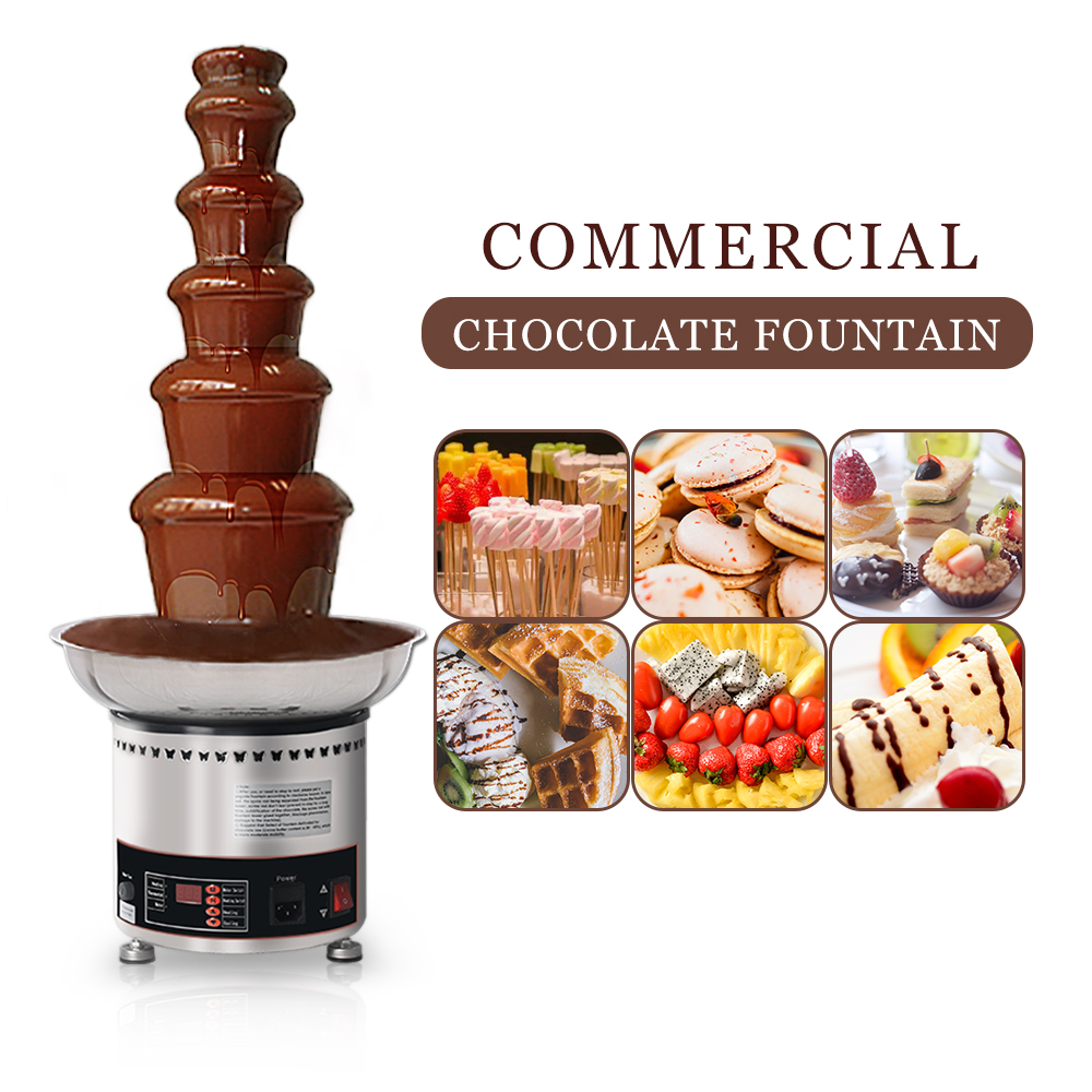 Chocolate Waterfall Machine With Full Stainless Steel Food Machine 6 Layers Chocolate Fountains Commercial