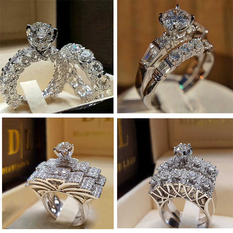 2019 Fashion 2PCs/set Crystal Rings Rhinestone Wedding Engagement Finger Ring Female Ring Set for Women Trend Jewelry Bague