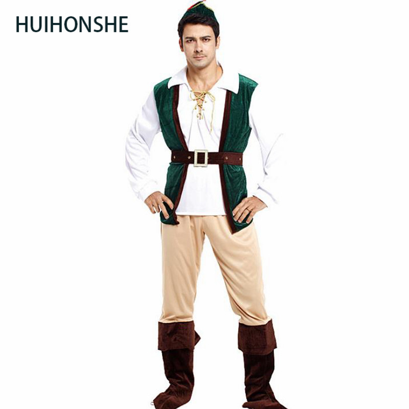 Fantasia adulto Men Pirate Robin Hood Cosplay Carnival Halloween Forest prince hunter Costume Purim Masquerade Christmas cloth