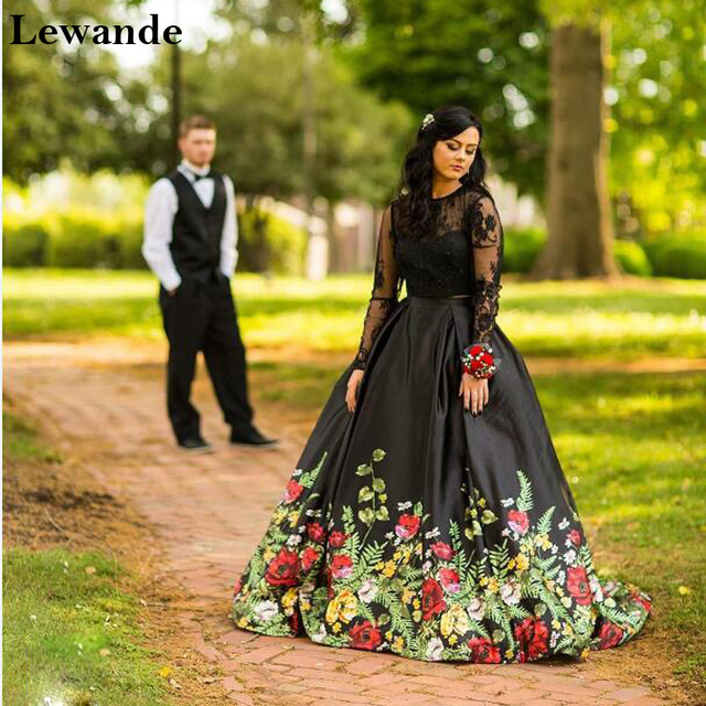 3a4080b867f Lewande Floral Printed Black Prom Dresses 50599 Two Pieces Long Sleeves Lace  Formal Bridesmaid Dresses Gown Graduation