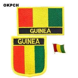 Гвинея Национальный флаг вышитые железа на патчи для одежды металлические значки DIY видел на патчи