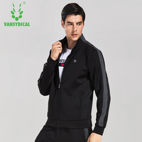 Vansydical Men's Zipper Running Fitness Jackets Breathable Training Sports Coats Stand Collor Autumn Sportswears
