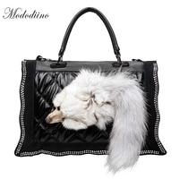 Mododiino 2019 Famous Brand Fox Handbags Fashion Faux Fur Women Bag Winter Luxury Messenger Bag PU Leather Shoulder Bag DNV0906