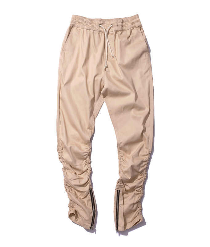 Haki koşucu pantolonu Rahat Sıska Fermuar Alt Sweatpants Hip Hop Pantolon streetwear Erkekler Pantolon Erkekler Zayıflama Pantolon Erkekler için