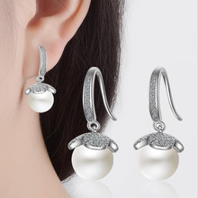 Everoyal Lady Fashion Silver 925 Hook Earrings Jewelry Female Pearl Accessories For Women Engagement Bijou