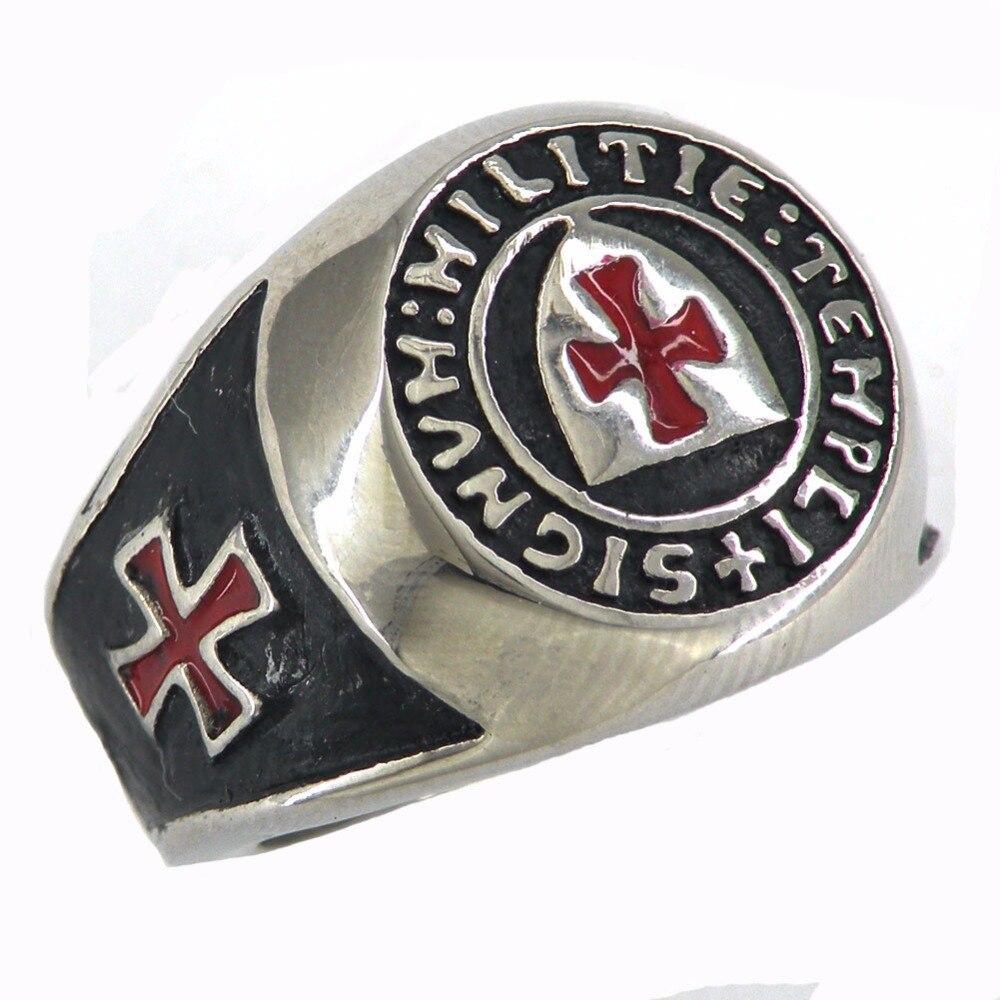 Fanssteel Stainless steel jewelry freemonsry shield knights templar red corss masonic ring  FSR11W86
