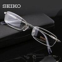 SEIKO Titanium Prescription Glasses Men, Transparent Glasses Frames Ultralight Correction Eyeglasses Frames for Men H01061